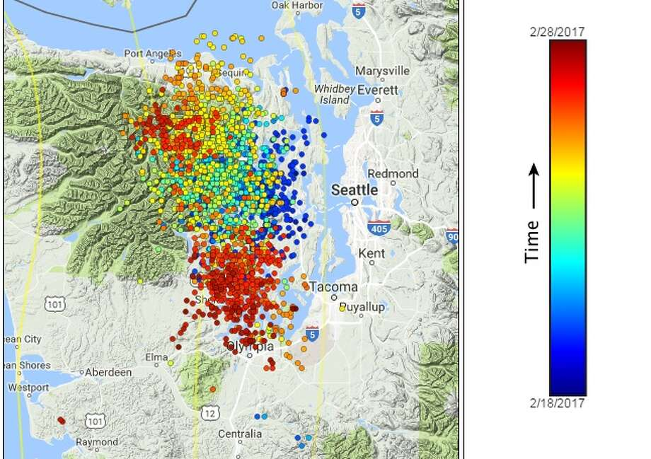 Images from the Pacific Northwest Seismic Network's tremor map shows that from Feb. 18-27, the tremors started centrally and began moving north and south over the course of a week and a half.(As the key indicates, blue dots are earlier tremors, while warmer dots are more recent.) Photo: Photos Courtesy Of Pacific Northwest Seismic Network