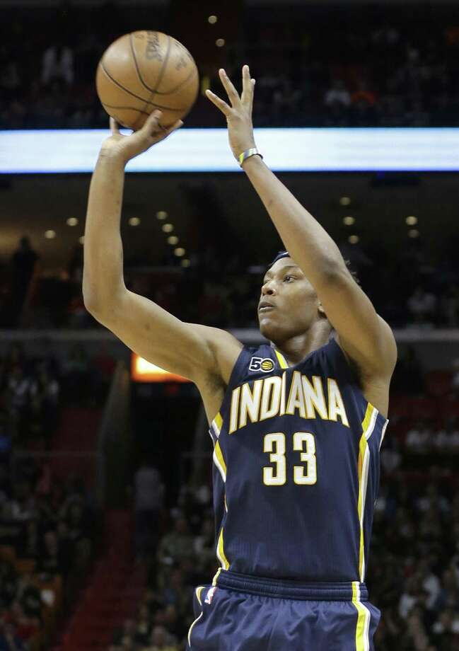 Indiana Pacers center Myles Turner (33) shoots against the Miami Heat during the first half of an NBA basketball game, Saturday, Feb. 25, 2017, in Miami. The Heat won 113-95. (AP Photo/Alan Diaz) Photo: Alan Diaz, STF / Associated Press / Copyright 2017 The Associated Press. All rights reserved.