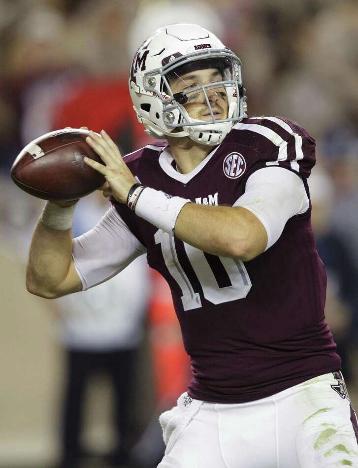 Texas A&M quarterback Jake Hubenak (10) looks to pass downfield against Mississippi during the fourth quarter of an NCAA college football game Saturday, Nov. 12, 2016, in College Station, Texas. Ole Miss won 29-28. (AP Photo/Sam Craft)