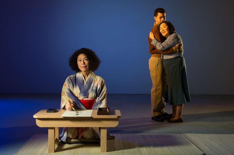 """Mia Tagano, William Thomas Hodg son, Emily Kuroda in """"Calligraphy."""" Photo: Kevin Berne, TheatreWorks"""