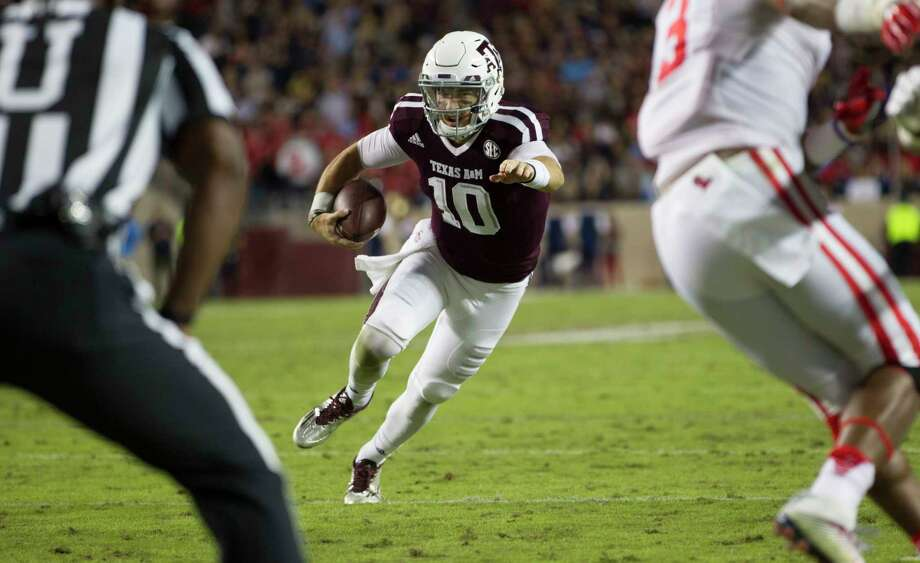 Texas A&M quarterback Jake Hubenak (10) looks toward the goal line while scrambling against Mississippi during the second quarter of an NCAA college football game Saturday, Nov. 12, 2016, in College Station, Texas. (AP Photo/Sam Craft) Photo: Sam Craft, FRE / AP