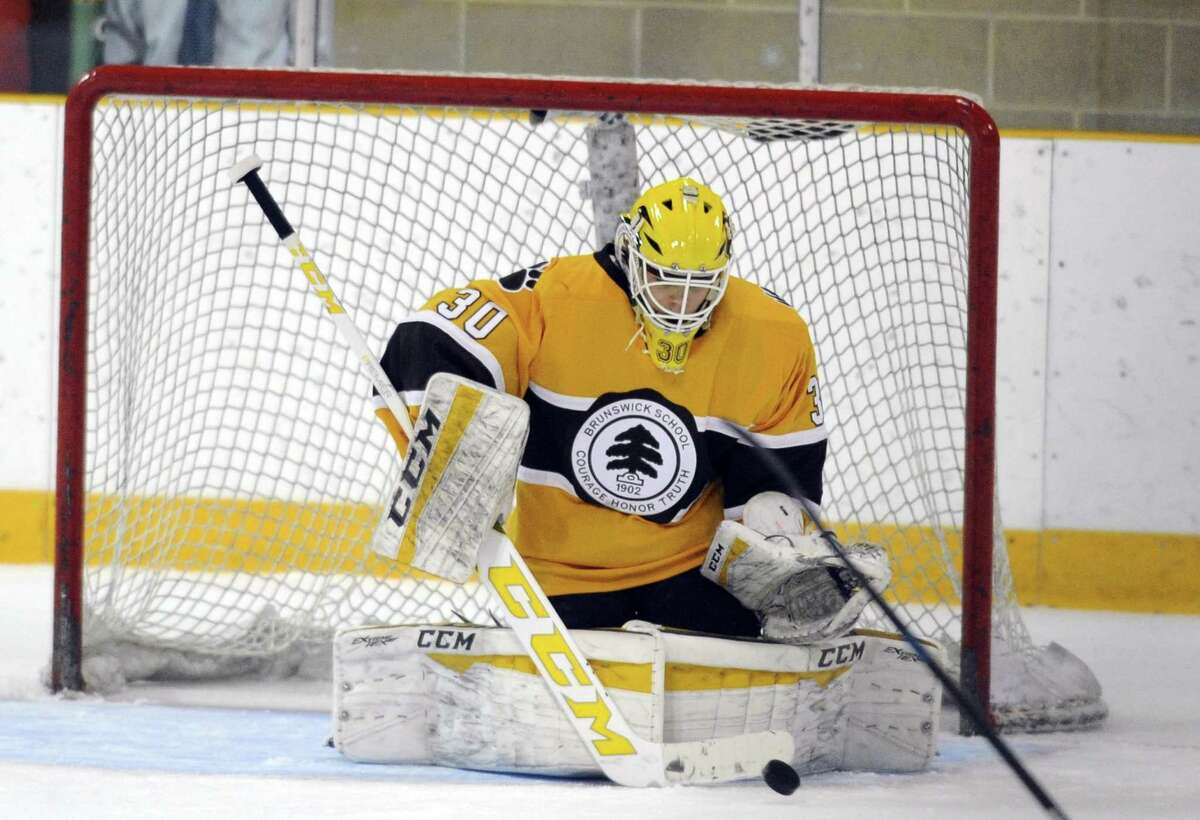 Brunswick goalie Strauss Mann earned First Team All-New England Team West honors.
