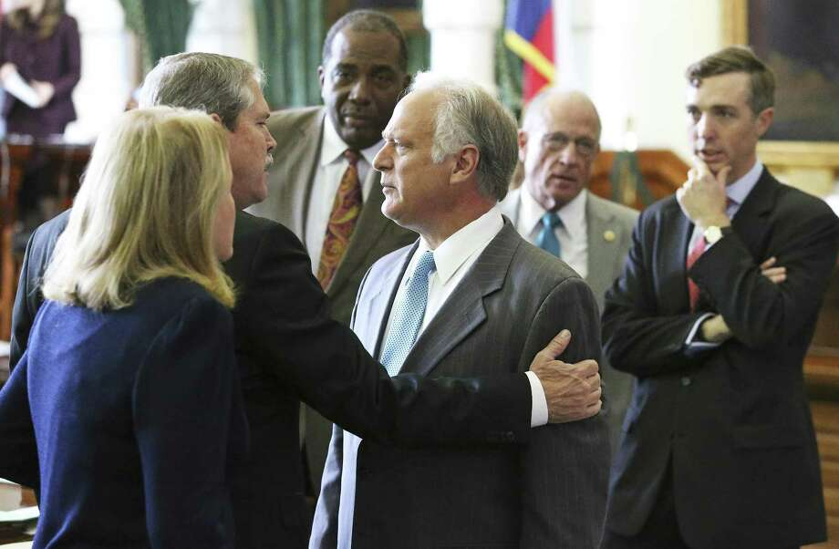 Some state lawmakers, including Senator Kirk Watson, center, are aiming to close an open records loophole in light of a 2015 Texas Supreme court ruling that allows governments to withhold records turned over to agencies by businesses. Photo: Tom Reel, Staff / San Antonio Express-News / 2017 SAN ANTONIO EXPRESS-NEWS