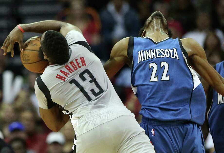 James Harden, left, finds himself battling the Timberwolves' Andrew Wiggins in a guard-forward matchup of the kind the opposition has been exploiting  in recent games. Photo: Yi-Chin Lee, Staff / © 2017  Houston Chronicle