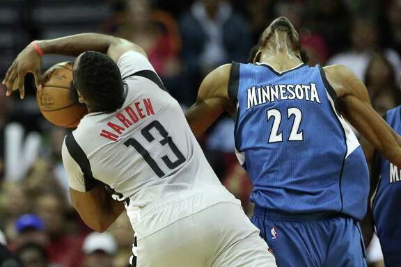 James Harden, left, finds himself battling the Timberwolves' Andrew Wiggins in a guard-forward matchup of the kind the opposition has been exploiting  in recent games.
