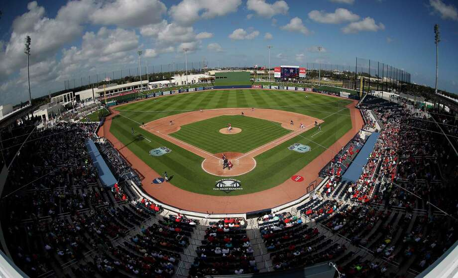 As the two teams sharing Florida's newest spring training complex, the Astros and Nationals were fitting opponents Tuesday in the first game at the Ballpark of the Palm Beaches. A crowd of 5,987 saw the Nats win4-3 on Michael Taylor's walkoff homer in the ninth. Photo: John Bazemore, STF / Copyright 2017 The Associated Press. All rights reserved.