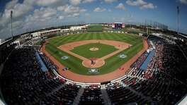 As the two teams sharing Florida's newest spring training complex, the Astros and Nationals were fitting opponents Tuesday in the first game at the Ballpark of the Palm Beaches. A crowd of 5,987 saw the Nats win4-3 on Michael Taylor's walkoff homer in the ninth.