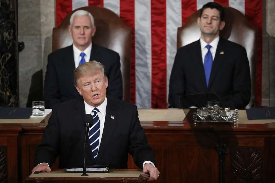 Vice President Mike Pence and House Speaker Paul Ryan of Wis. listen as President Donald Trump addresses a joint session of Congress on Capitol Hill in Washington, Tuesday, Feb. 28, 2017. (AP Photo/Pablo Martinez Monsivais) Photo: Pablo Martinez Monsivais/AP