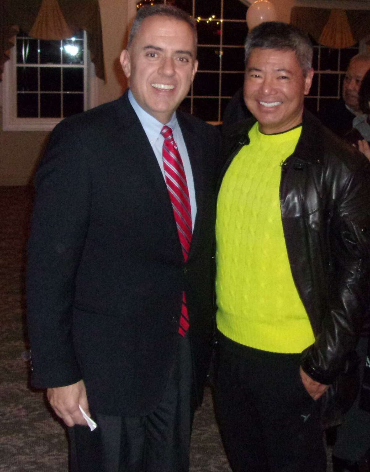 State Rep. Eric Berthel with Derick TeeKing, a childhood friend from Southbury who was visiting from San Fransisco, awaiting results of the 32nd District state Senate special election Tuesday in Watertown.