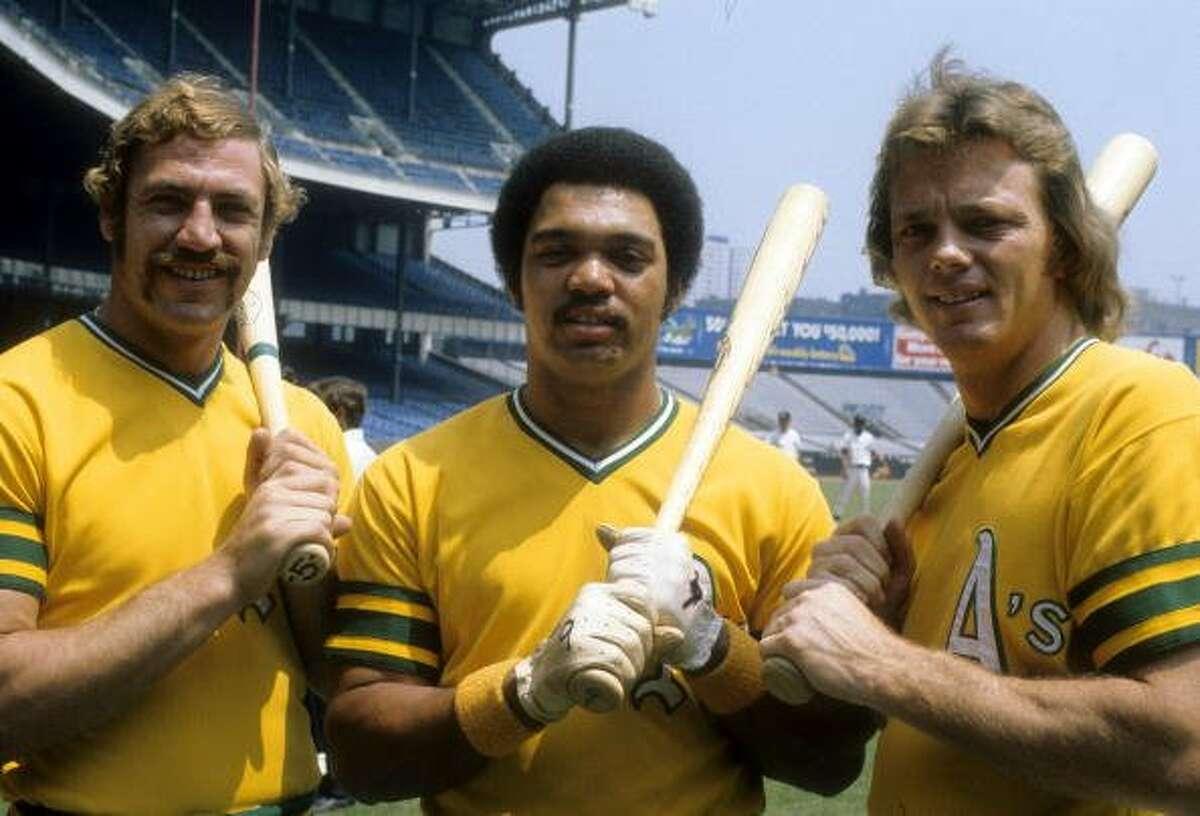 Mike Epstein,�Reggie Jackson and�Dave Duncan of the Oakland Athletics at Yankee Stadium circa 1972.