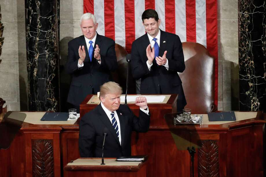 President Donald Trump, flanked by Vice President Mike Pence and House Speaker Paul Ryan, prepares to address a joint session of Congress on Tuesday night. Photo: Pablo Martinez Monsivais, STF / Copyright 2017 The Associated Press. All rights reserved.
