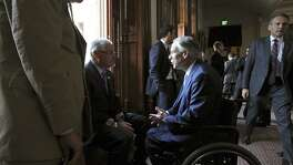 Rep. Dan Huberty, seen chatting with Gov. Greg Abbott, chairs the House Public Education Committee.