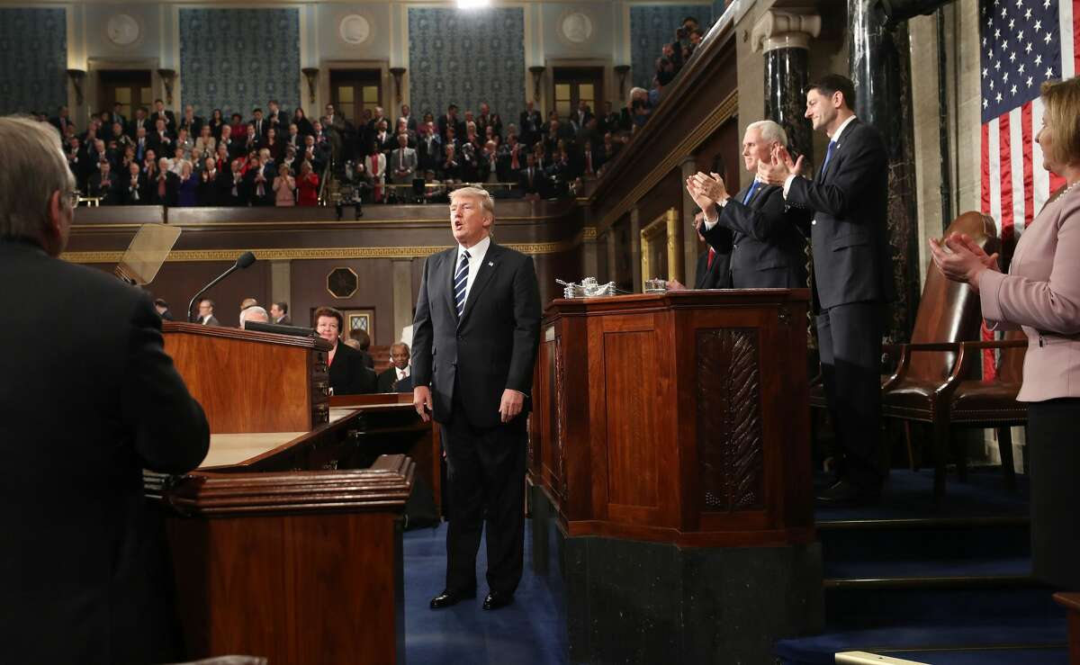 President Donald J. Trump departs after delivering his first address to a joint session of Congress from the floor of the House of Representatives in Washington, DC, USA, 28 February 2017.