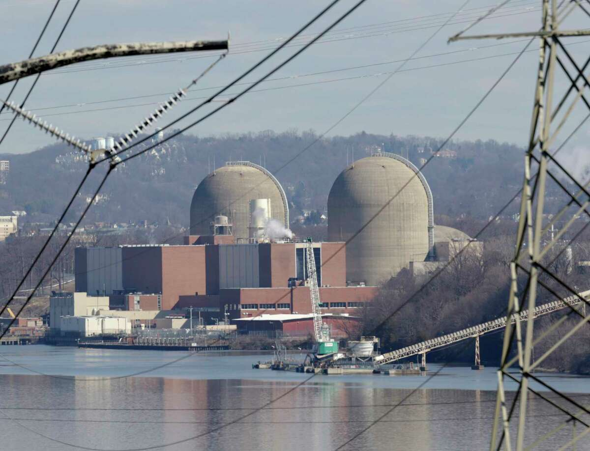 Indian Point Energy Center is seen in Buchanan, N.Y., Tuesday, Feb. 28, 2017. Some New York lawmakers are demanding more information about plans to close Indian Point nuclear plant in suburban New York City by 2021. (AP Photo/Seth Wenig) ORG XMIT: NYSW104
