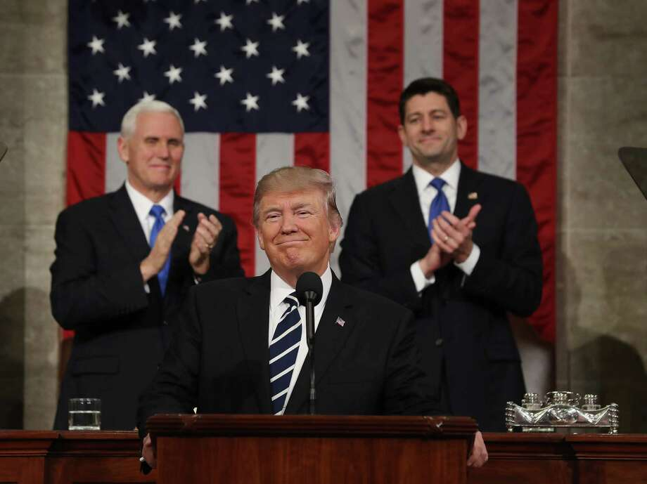 President Donald Trump delivers his first address to a joint session of Congress Tuesday. (Jim Lo Scalzo / AFP/Getty Images) Photo: JIM LO SCALZO, Staff / AFP or licensors