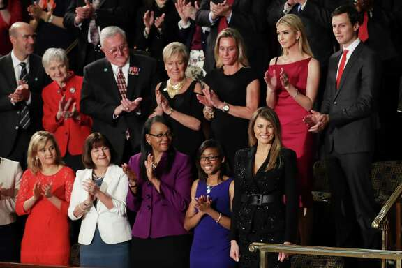 First lady Melania Trump, front right, was joined by Ivanka Trump and  her husband, Jared Kushner, for the president's address to Congress on Tuesday.