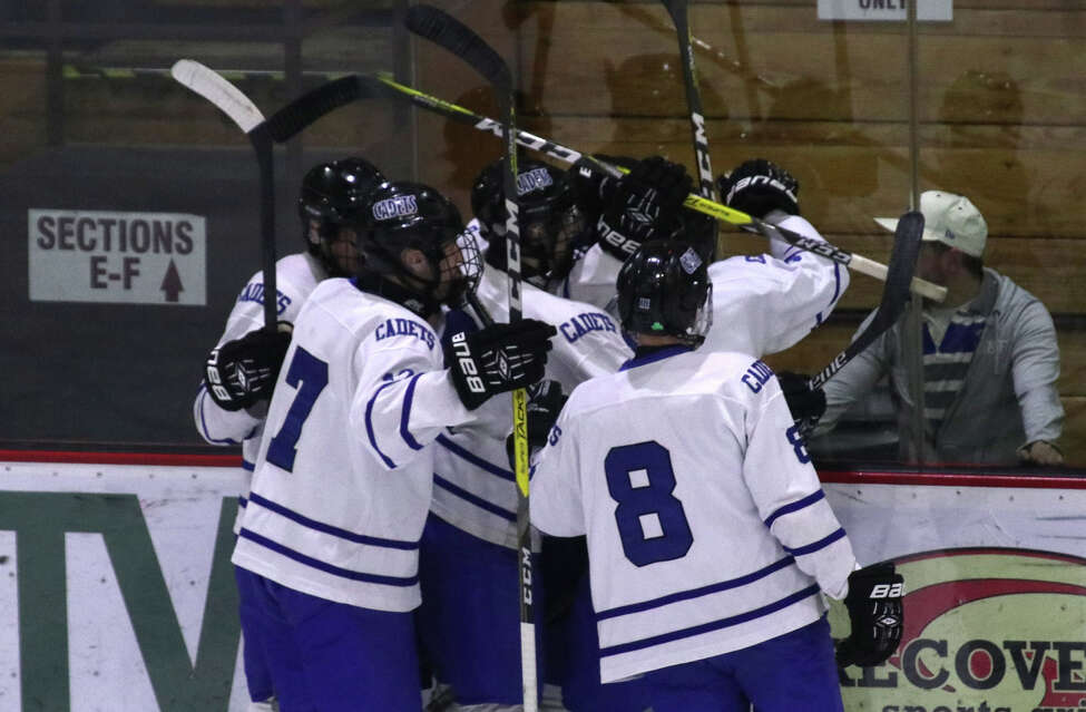 The La Salle Cadets celebrate Sam Mulson's 1st period goal over Shen during the Section II Division I Hockey final at Union College in Schenectady Tuesday, February 28, 2017. (Ed Burke-Special to The Times Union)