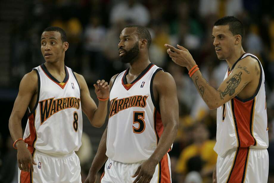 Matt Barnes, right, played a key role - along with Monta Ellis, left, and Baron Davis - in the Warriors' upset of top-seed Dallas in the 2007 playoffs. Photo: Kat Wade, SFC