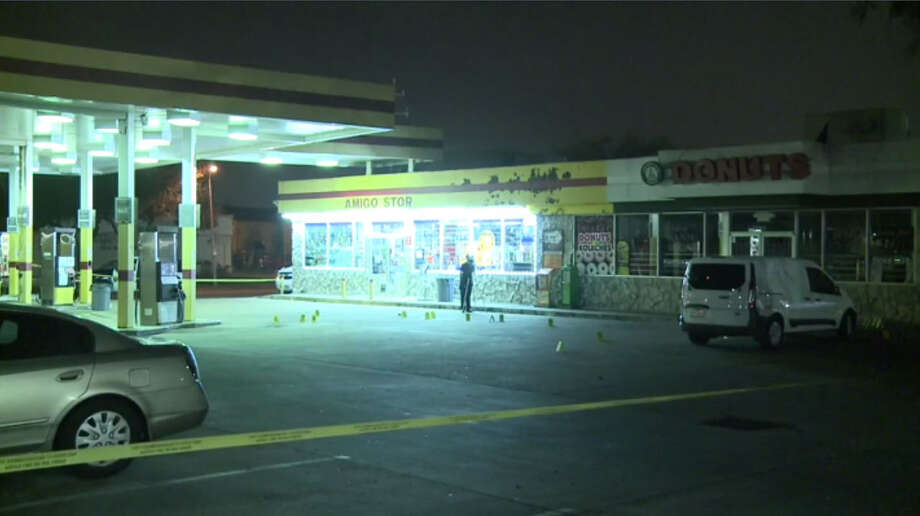 Police investigate a shooting outside a west Houston convenience store where a man said he shot another man in self-defense Tuesday night, Feb. 28, 2017. (Metro Video) Photo: Metro Video