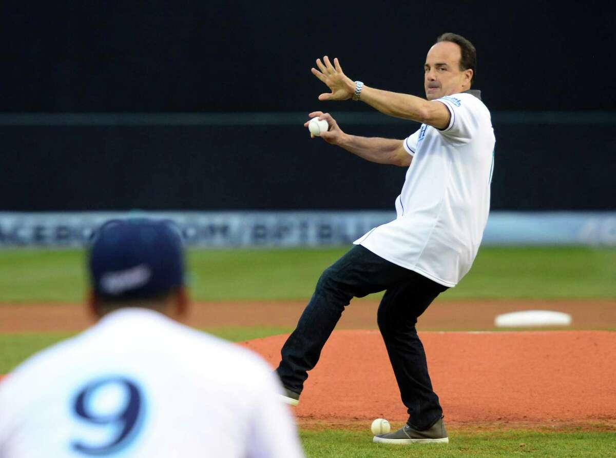 Mayor Joe Ganim throws out the first pitch before the start of the opening day of baseball action between the Bridgeport Bluefish and the New Britain Bees at the Ballpark at Harbor Yard in Bridgeport, Conn., on Thursday Apr. 28, 2016. In March 2017, the city of Bridgeport began accepting proposals