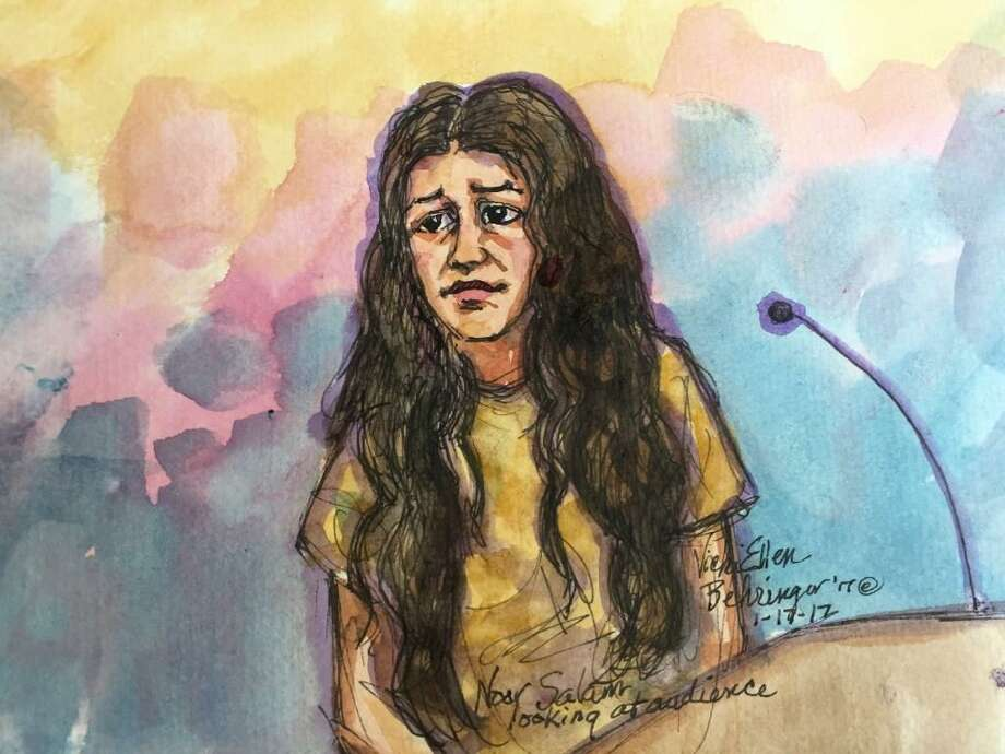 A courtroom sketch of Noor Salman, the wife of Omar Mateen, who carried out a deadly terrorist attack in Orlando, Fla., in federal court in Oakland, Calif. She has been charged with helping her husband in the months leading up to the attack, according to an indictment unsealed. Photo: Vicki Behringer/Special To The Chronicle / /