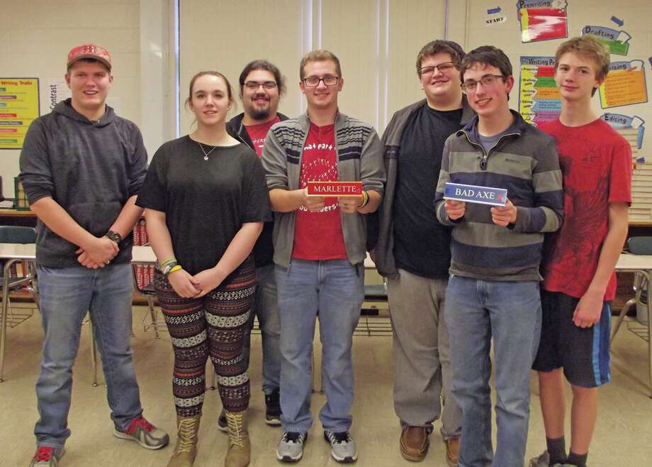 Shown are the Marlette team members: Andrew Gillig, Liz Skakle, John Sanchez and Phillip de la Soto; and the Bad Axe Teams members: Casey Shepard, Mark Shepard and David Doerr. 