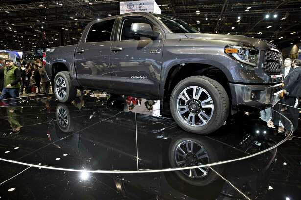 A 2018 Toyota Tundra on display at the 2017 Chicago Auto Show. The pickup truck posted sales of TK in February, TK  percent down from a year ago.