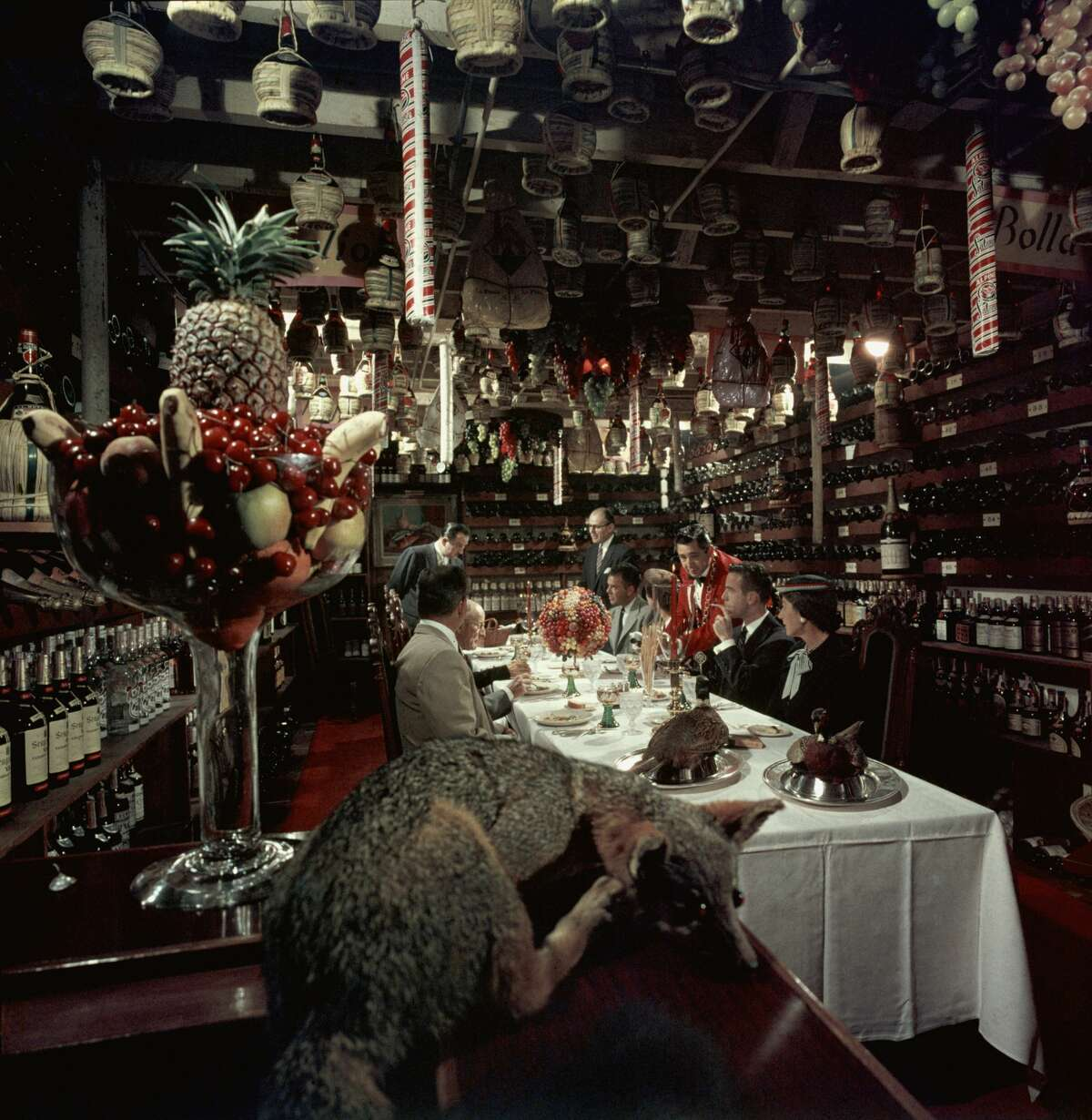 Luminaries of the time dined in SF Famous celebrities likeBing Crosby, Frank Sinatra, Marilyn Monroe and Joan Crawford were all regulars at the swanky Blue Fox restaurant. In this 1956 file photo patrons dine in the wine cellar at the Blue Fox restaurant. It closed in 1993.