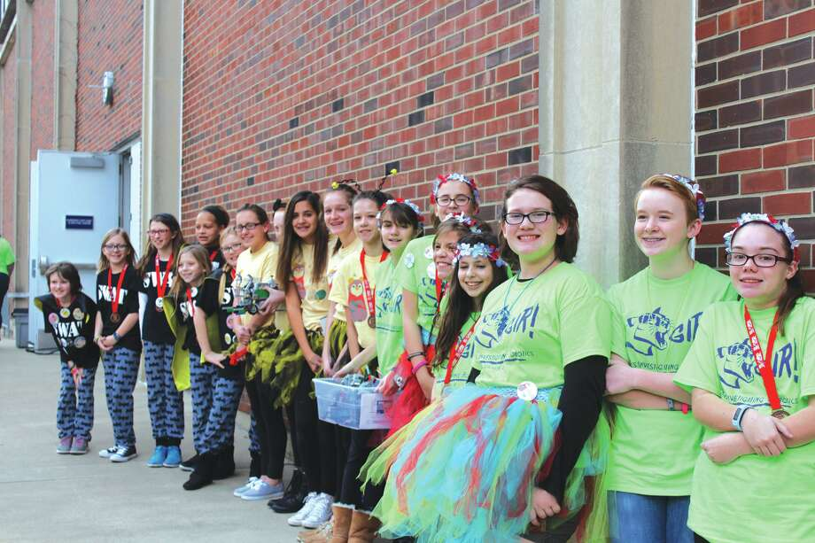 Pictured are the three robotics teams from the Girl Scouts of Southern Illinois that were honored at the FIRST LEGO League Central Illinois State Tournament. Photo: For The Intelligencer