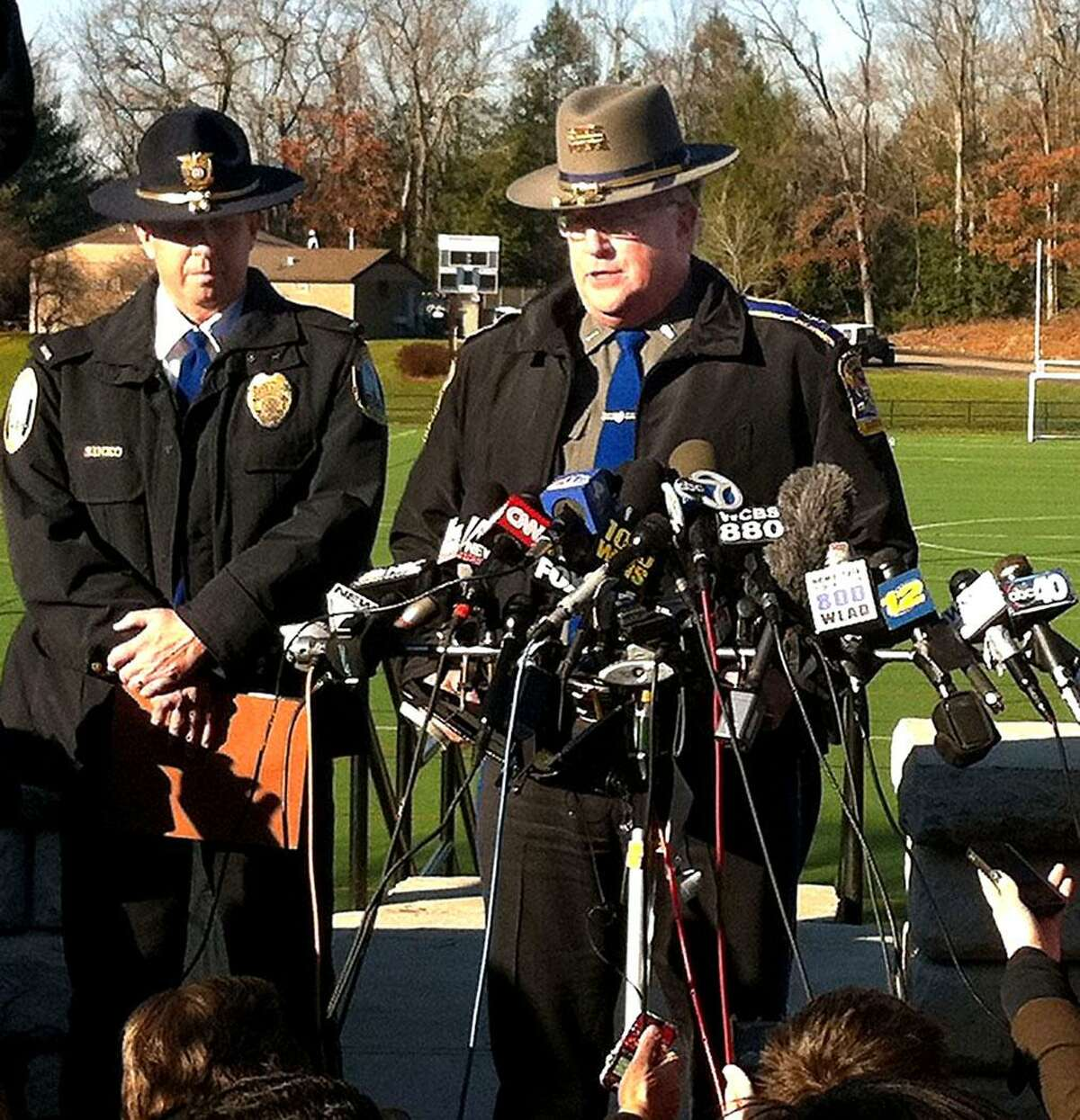 State Police spokesman Lt. J. Paul Vance speaks about shootings at the Sandy Hook Elementary School Friday, Dec. 14, 2012.