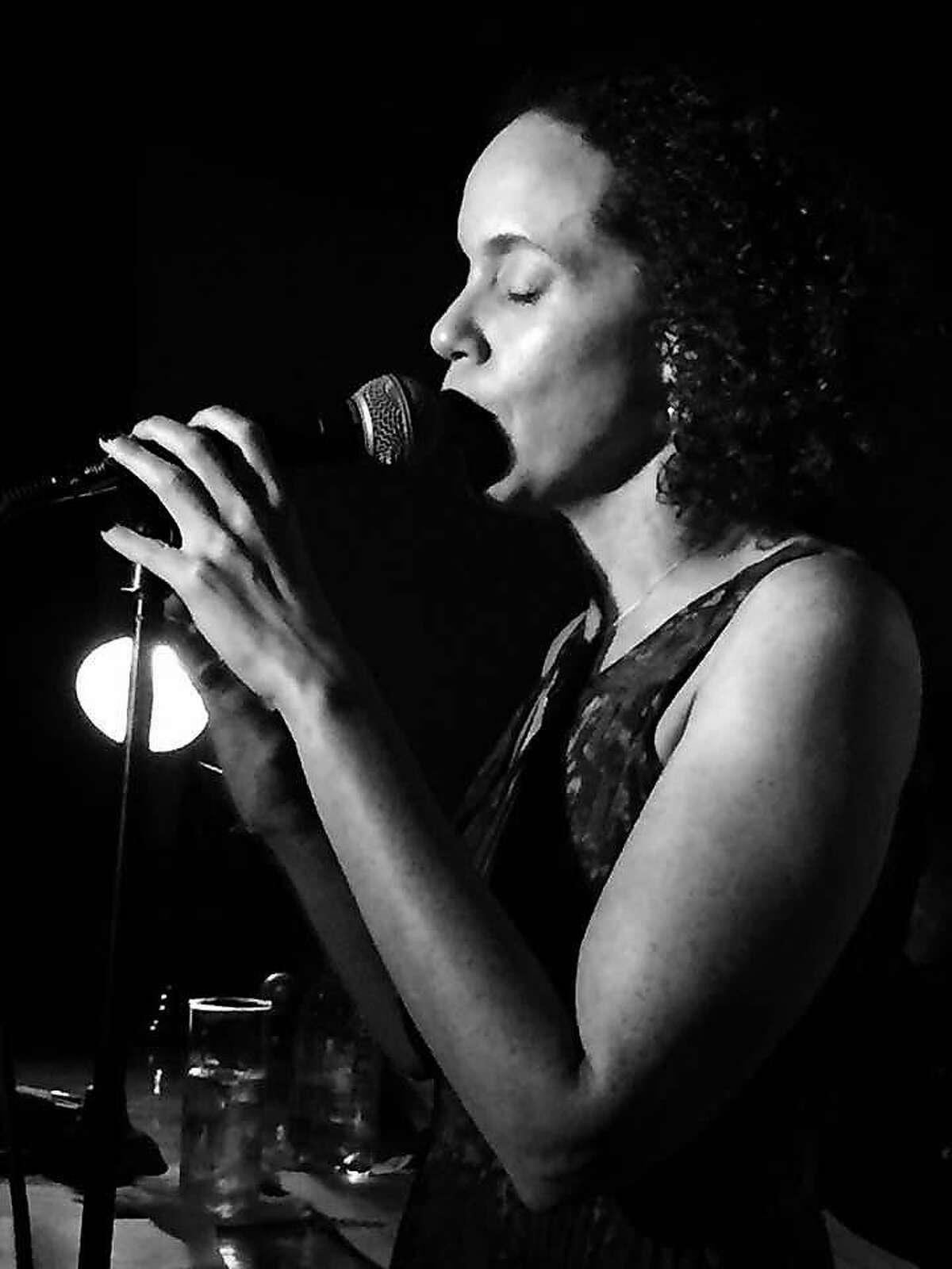 Melissa Culross, KCBS reporter & anchor -- and musician -- at Martuni's.� By Mary Ellen Mason