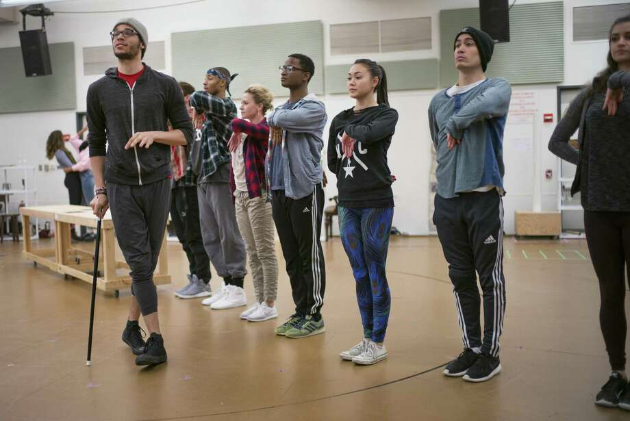 """Actor Jordan Donica (gray hat, playing Thomas Jefferson) during rehearsals of the Broadway show """"Hamilton"""" at New 42nd Street Studios in Midtown Manhattan on Wednesday, February 15, 2017. Photo: Special To The Chronicle / online_yes"""
