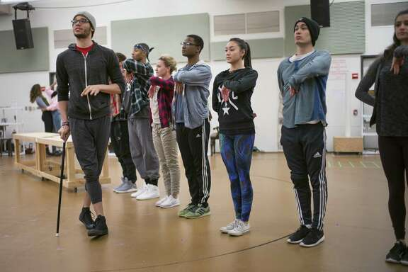 "Actor Jordan Donica (gray hat, playing Thomas Jefferson) during rehearsals of the Broadway show ""Hamilton"" at New 42nd Street Studios in Midtown Manhattan on Wednesday, February 15, 2017."