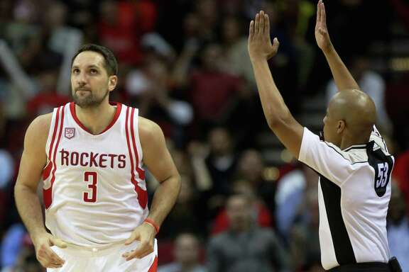 Houston Rockets forward Ryan Anderson (3) makes a three-pointer during the second half of the game Wednesday, Feb. 15, 2017, in Houston. The Rockets lost to the Heat 117-109. ( Yi-Chin Lee / Houston Chronicle )