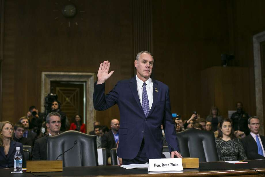 Rep. Ryan Zinke, R-Mont., is sworn in at his confirmation hearing before the Senate Energy and Natural Resources Committee in Washington. Zinke is a fifth-generation Montanan. Photo: AL DRAGO, NYT