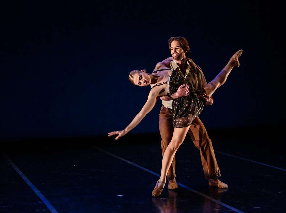 Erica Felsch, here with Jonathan Powell, has a piece in the showcase. Photo: Chris Hardy