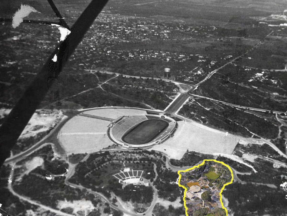 Japanese Tea GardenThis aerial photo, shot around 1940 by Sam Wolf, shows Alamo Stadium, looking northwest, before realignment of Hildebrand Avenue and Devine Road and construction of U.S. 281, Trinity University and other development.