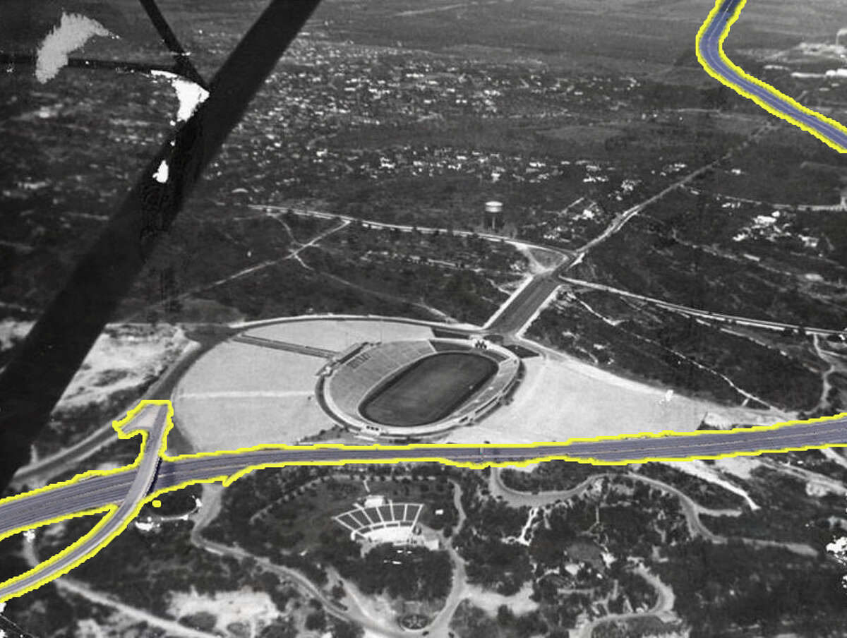 Hwy. 281This aerial photo, shot around 1940 by Sam Wolf, shows Alamo Stadium, looking northwest, before realignment of Hildebrand Avenue and Devine Road and construction of U.S. 281, Trinity University and other development.