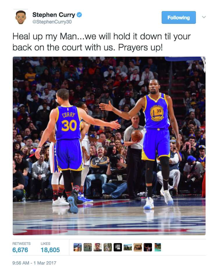 The Golden State Warriors express their support for injured teammate Kevin Durant. Photo: Screenshot Via Twitter
