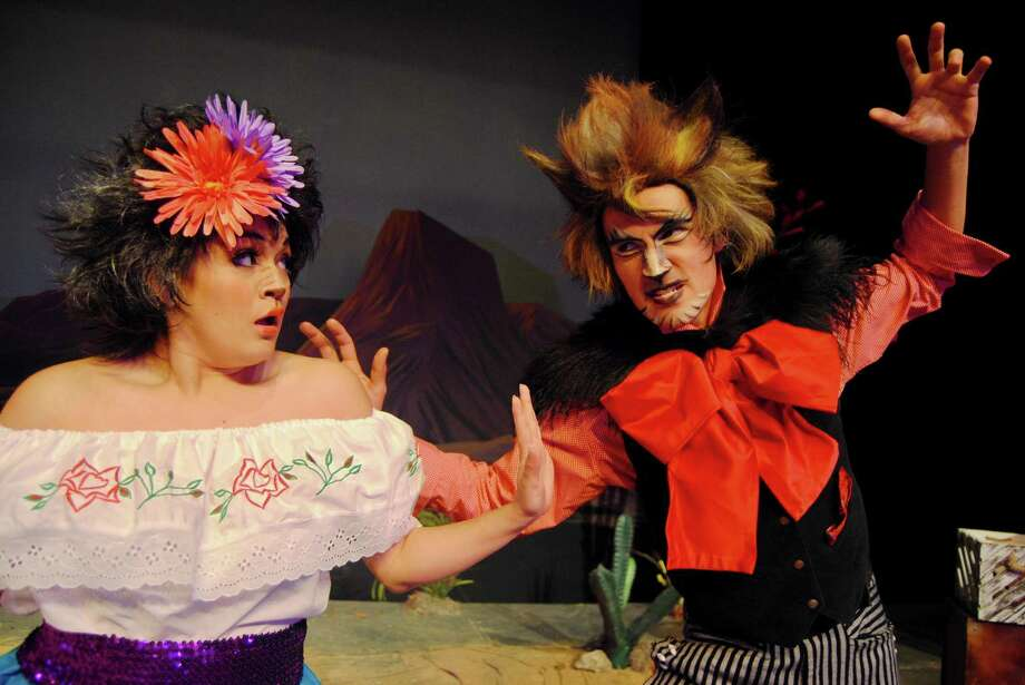 Left, white blouse: Jovi Lee as Josefina Javelina. Right, red shirt, Travis Trevino as Culver Coyote. Josefina Javelina is startled by the sneaky Culver Coyote in The Three Javelinas adapted by Jenny Millinger with music by Todd Hulet, directed by Greg Hinojosa, based on the popular books by Susan Lowell. Begins March 3, 2017 and runs through April 9, 2017 at the Magik Theatre, 420 South Alamo. For tickets call 210-227-2751 or visit Magiktheatre.org. Photo by Megan Coy. Photo: /Courtesy Photo