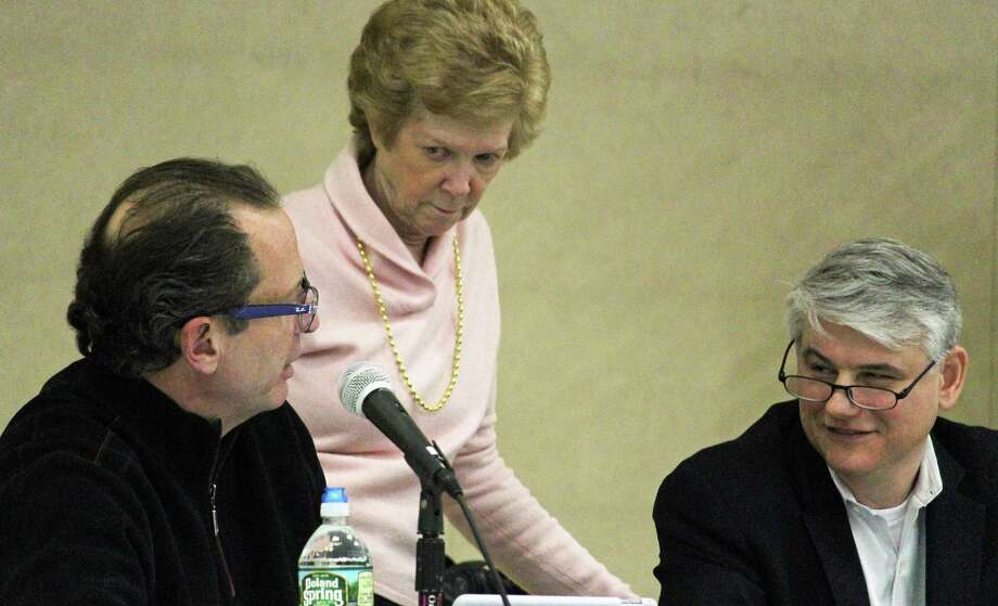 Town Plan and Zoning Commission Vice Chairman Gerry Alessi, left, Commissioner Meg Francis, and Chairman Matthew Wagner just prior to Tuesday's TPZ meeting.The commission unanimously denied an application for a memory care assisted living facility on Stillson Road. Fairfield,CT. 22/28/17 Photo: Genevieve Reilly / Hearst Connecticut Media / Fairfield Citizen