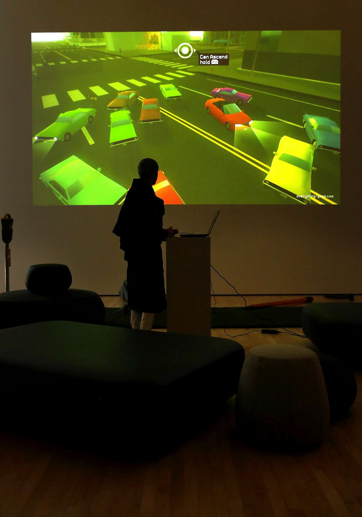 Gamer-artist David O'Reilly with his pop-up arcade game