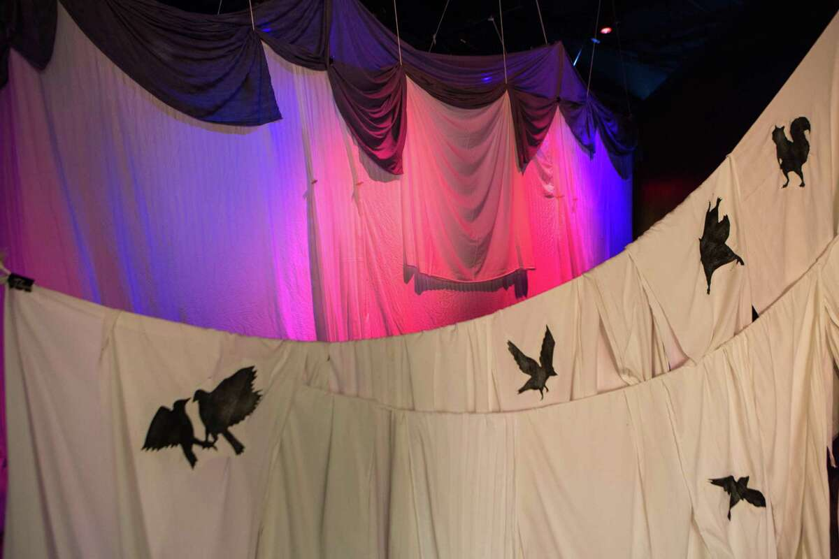 """Images of birds and other creatures adorn sheets used to create the tunnel that leads into the tent in """"The Dream Keeper,"""" an installation by artist Richard Armendariz at the DoSeum."""