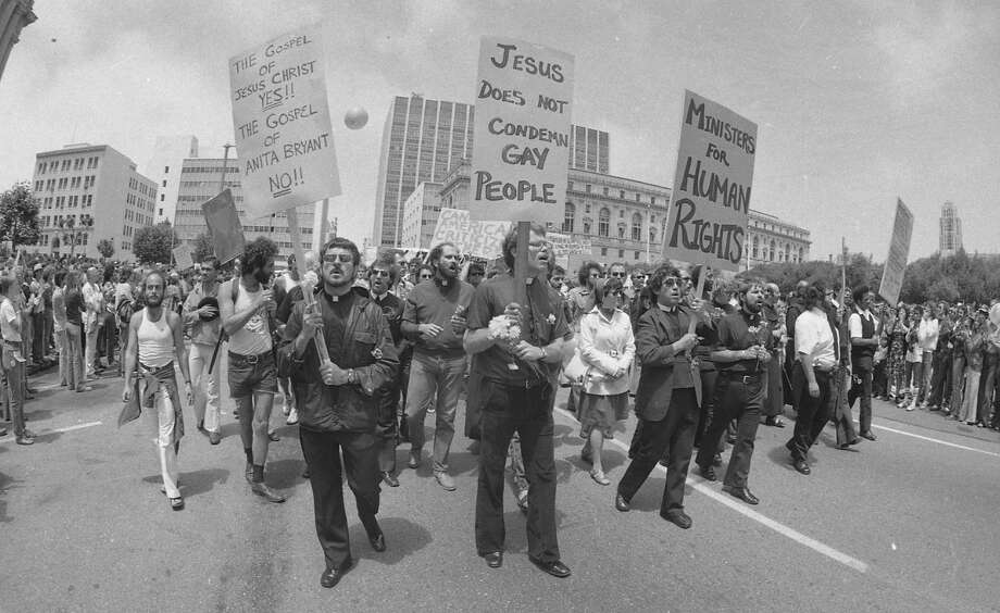 Some 3,000 people marched in downtown Houston in 1977 to protest Anita Bryant's performance. / ONLINE_YES