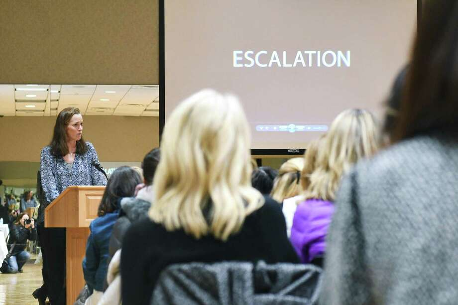 "Sharon Robinson, Vice Chair of the One Love Foundation, speaks about dating violence as the YWCA Greenwich hosts a viewing of the film ""Escalation"" in Greenwich, Conn., Feb. 28, 2017. Robinson's cousin Yeardley Love was killed by her boyfriend in 2010, her death inspired the One Love Foundation. The film focuses on teen dating violence and the event was in partnership with the One Love Foundation, a nonprofit that educates people about healthy relationships. ""Escalation"" attempts to help viewers understand the more nuanced signs of relationship abuse as well as how important it is for family, friends and others to step in when they see these behaviors. Photo: Keelin Daly / For Hearst Connecticut Media / Greenwich Time Freelance"
