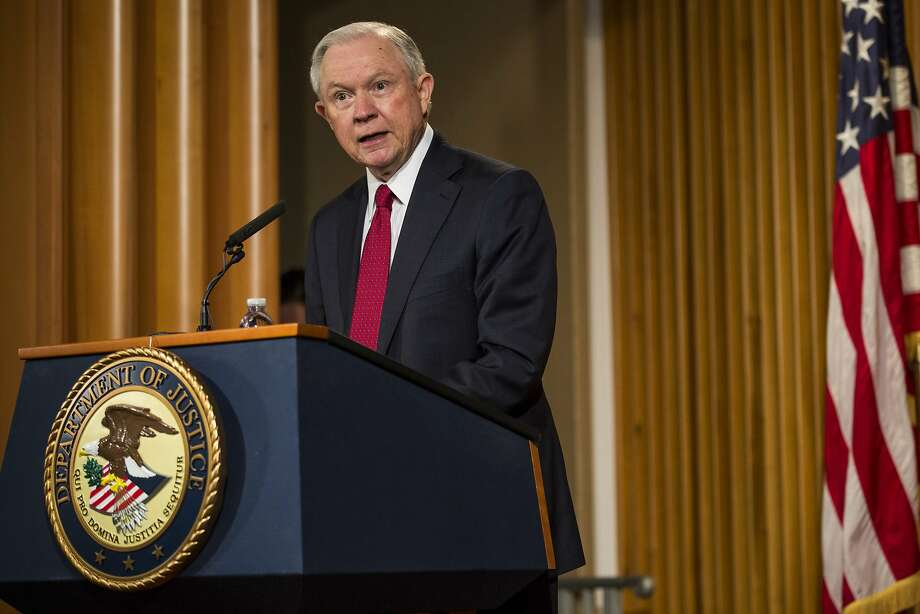 "U.S. Attorney General Jeff Sessions delivers remarks at the Justice Department's 2017 African American History Month Observation at the Department of Justice on February 28, 2017 in Washington, D.C. The event also included a showing of the documentary ""Too Important to Fail: Saving America's Boys.""  Photo: Zach Gibson, Getty Images"