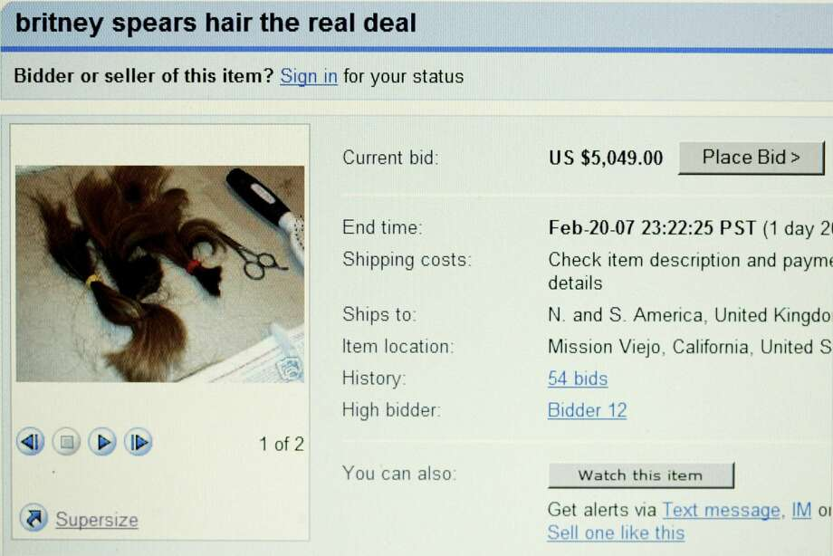 LONDON - FEBRUARY 19:  In this photo illustration a computer screen displays a page from online auction site Ebay with the locks of Britney Spears' hair for sale, photographed on February 19, 2007 in London.  Esther Tognozzi of Esther's Haircutting Studio in Tarzana, California has placed the locks of hair of the US singer on the the auction site after Spears used her clippers to shave her head on leaving a rehab clinic she had been resident at.  (Photo by Bruno Vincent/Getty Images) Photo: Bruno Vincent/Getty Images