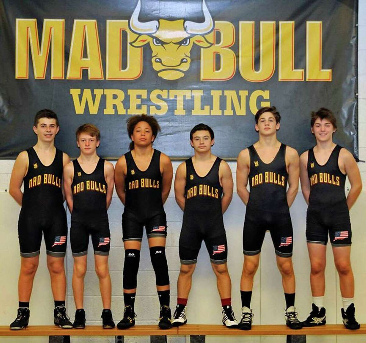 Middle school wrestlers from the Norwalk Mad Bulls are, from, Anthony Marini, Charlie Prather, Koy Price, Artie Cocchia, Dean Tsiranides and Nick Augeri.