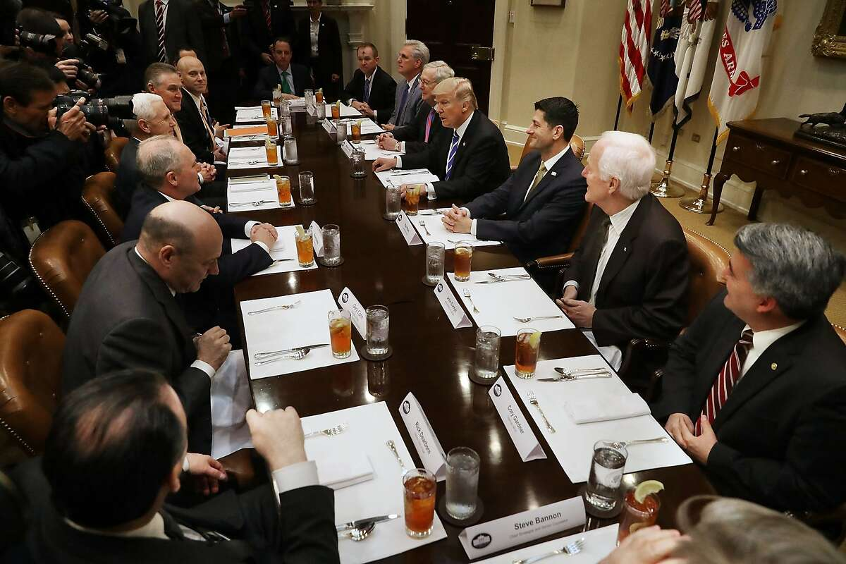 WASHINGTON, DC - MARCH 01: President Donald Trump hosts Republican Congressional leaders Rep. Kevin McCarthy (R-CA); Senate Majority Leader Mitch McConnell (R-KY), Speaker of the House Paul Ryan (R-WI), Sen. John Cornyn (R-TX) and members of Trump's staff during a working lunch in the Roosevelt Room at the White House March 1, 2017 in Washington, DC. The meeting comes the day after Trump layed out his policy priorities during a joint session of Congress. (Photo by Chip Somodevilla/Getty Images) *** BESTPIX ***