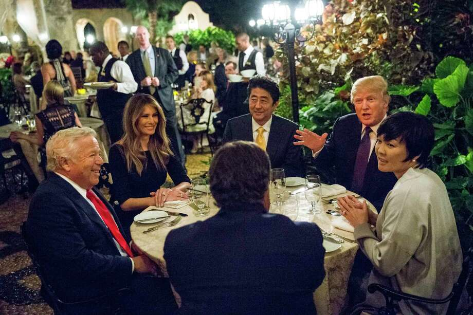 President Donald Trump dines with Prime Minister Shinzo Abe of Japan, center, their spouses Melania Trump and Akie Abe, and Robert Kraft, New England Patriots owner, at the Mar-a-Lago resort in Palm Beach, Fla., last February.  Health problems were found in the resort's kitchens before the summit. Photo: AL DRAGO, STF / NYTNS